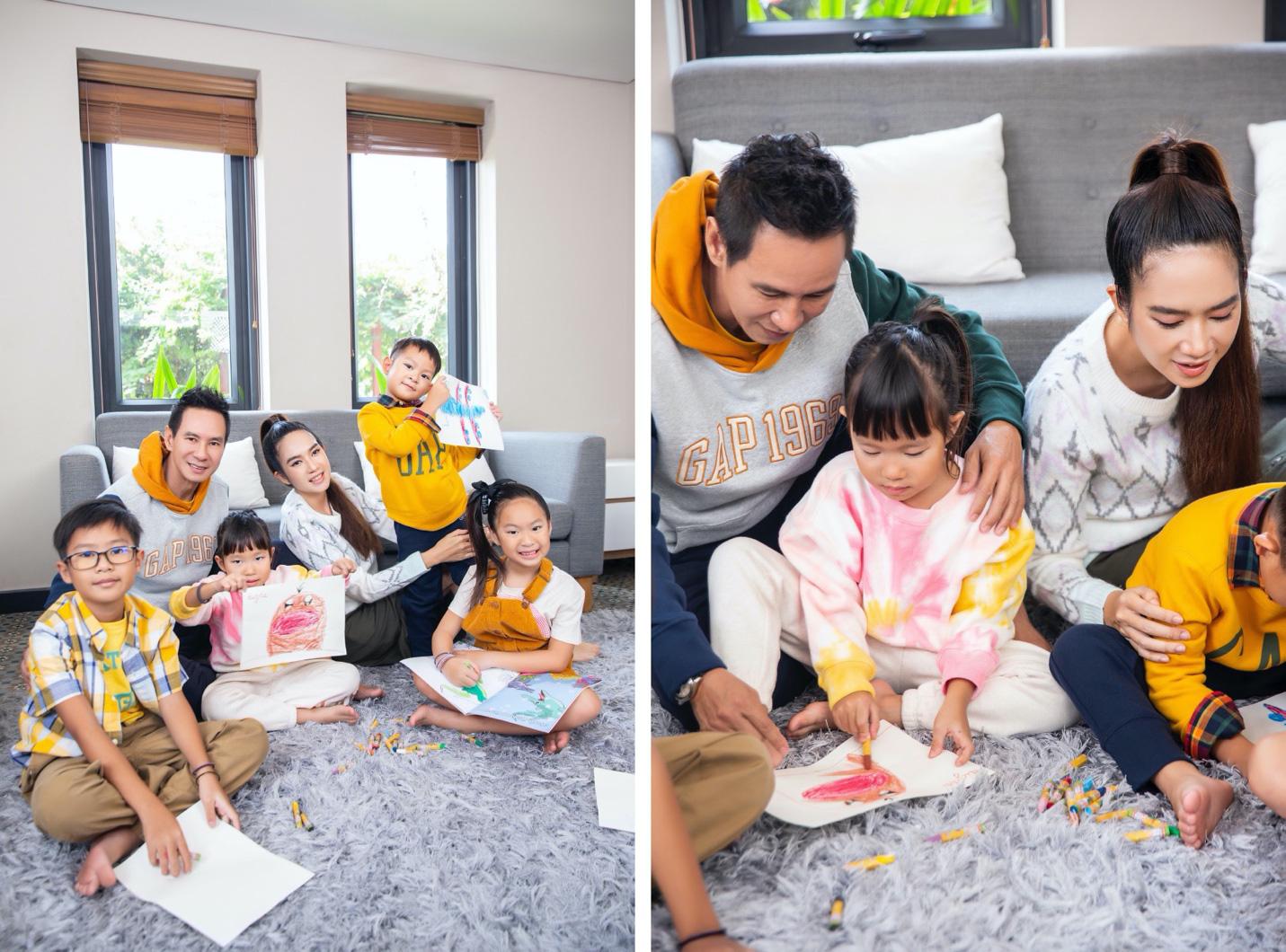 Vợ chồng Lý Hải - Minh Hà cùng 4 nhóc tì xuất hiện như fashionista trong BST Holiday của GAP - Ảnh 7.