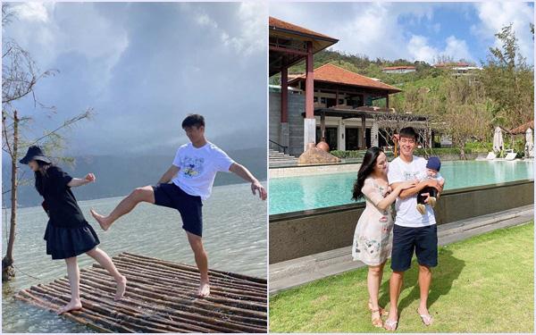 """Suýt nữa bị chồng """"đá"""" xuống hồ khi đang đi du lịch, Quỳnh Anh """"chữa cháy"""" ngay bằng bức ảnh gia đình siêu đáng yêu"""