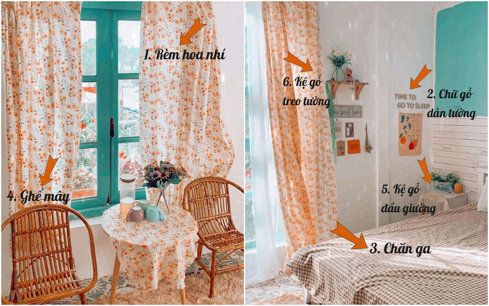 Tư vấn những sản phẩm đơn giản giúp gái độc thân tự trang trí phòng ngủ tone cam hoa nhí xinh như Hàn xẻng lại cho chi phí cực tiết kiệm  - Ảnh 1.