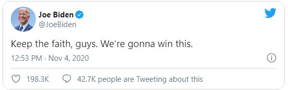 Ông Joe Biden bất ngờ phát biểu trong đêm khi kết quả bầu cử chưa ngã ngũ, thể hiện niềm tin chiến thắngf - Ảnh 2.