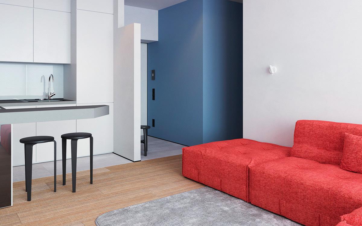 Vỏn vẹn 64m² nhưng căn hộ nhỏ này gây ấn tượng mạnh về mặt thị giác với hai gam màu đỏ - xanh rực rỡ