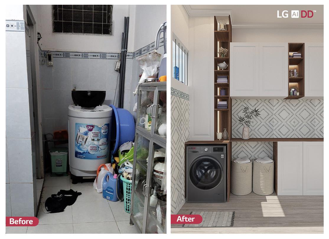 KTS hô biến những góc giặt cũ kĩ, lộn xộn của chị em hội Nghiện nhà thành không gian đẹp lung linh, nhìn là muốn học theo ngay lập tức - Ảnh 3.