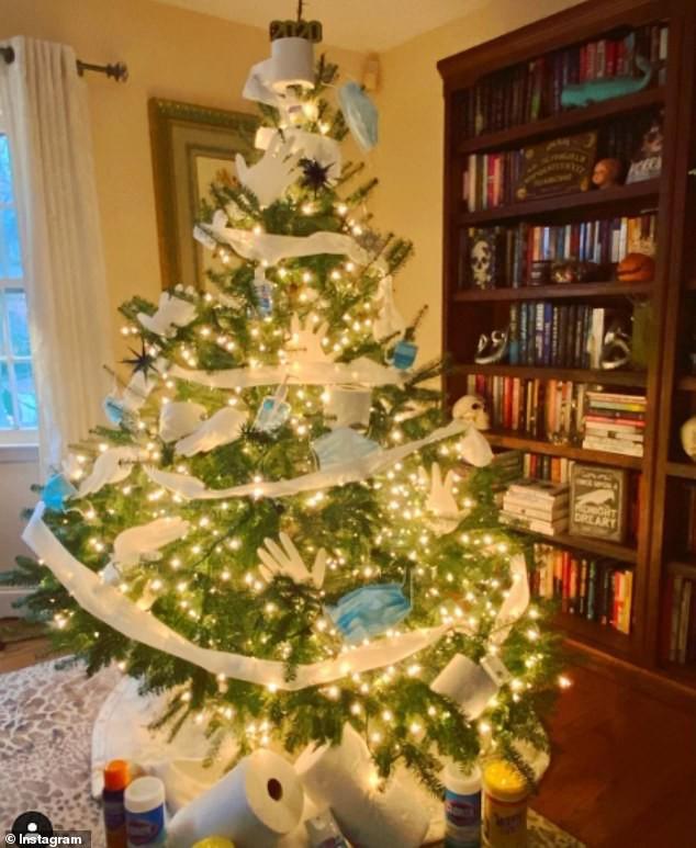 Treo khẩu trang, giấy vệ sinh lên cây thông Noel vì 'ám ảnh' với COVID-19 - Ảnh 6.