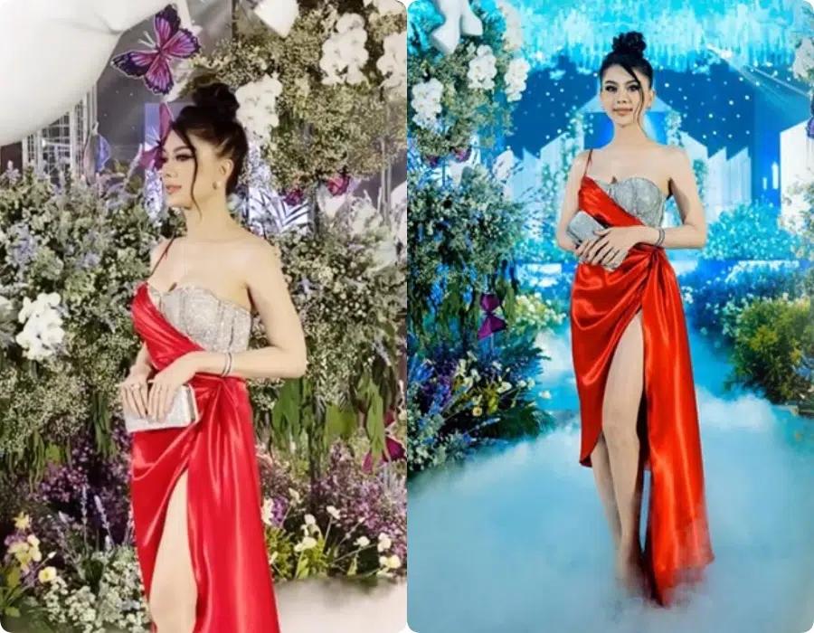 """Đi đám cưới tình cũ, Lâm Khánh Chi thay tới 2 bộ váy cắt khoét hiểm hóc, thêm đôi cao gót khủng nhưng xém chút thì """"vồ ếch"""" - Ảnh 6."""