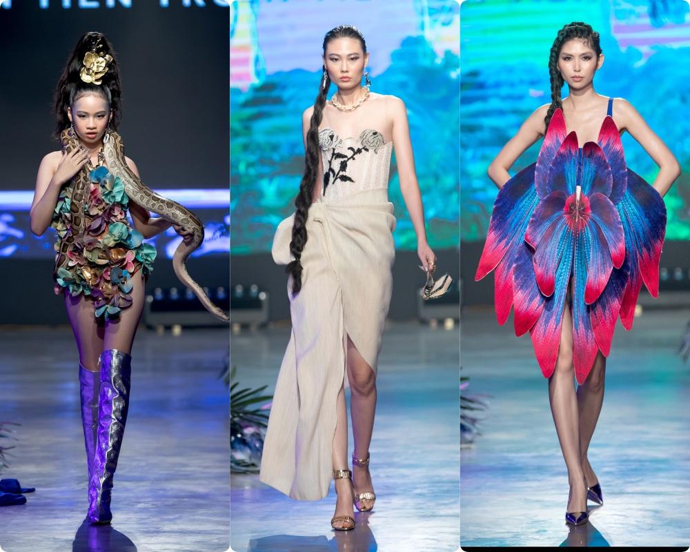 Mẫu nhí Bảo Hà trình diễn với trăn khổng lồ, Á hậu Thúy Vân vừa sinh xong đã diện ngay crop top táo bạo thách thức sàn catwalk của Fashion Festival  - Ảnh 3.