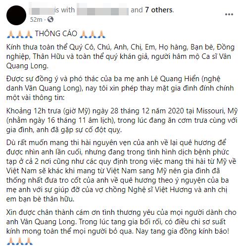 Gia đình Vân Quang Long tiết lộ chính xác về nguyên nhân dẫn tới sự ra đi đột ngột của nam ca sĩ - Ảnh 1.