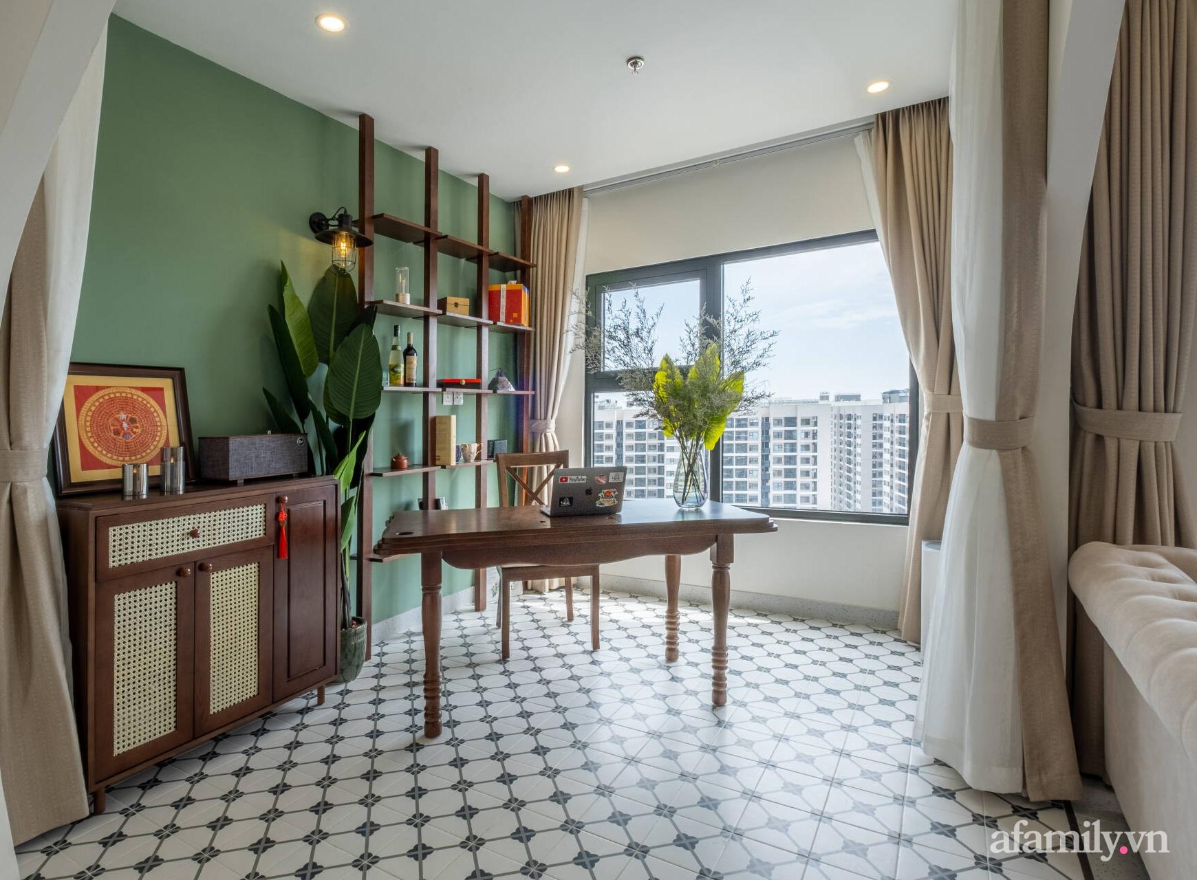 Căn hộ 3 phòng ngủ đẹp tinh tế với phong cách Indochine ở Vinhomes Ocean Park, Hà Nội - Ảnh 7.