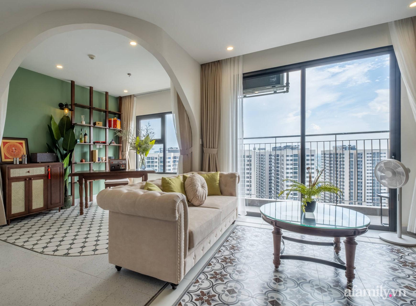 Căn hộ 3 phòng ngủ đẹp tinh tế với phong cách Indochine ở Vinhomes Ocean Park, Hà Nội - Ảnh 2.