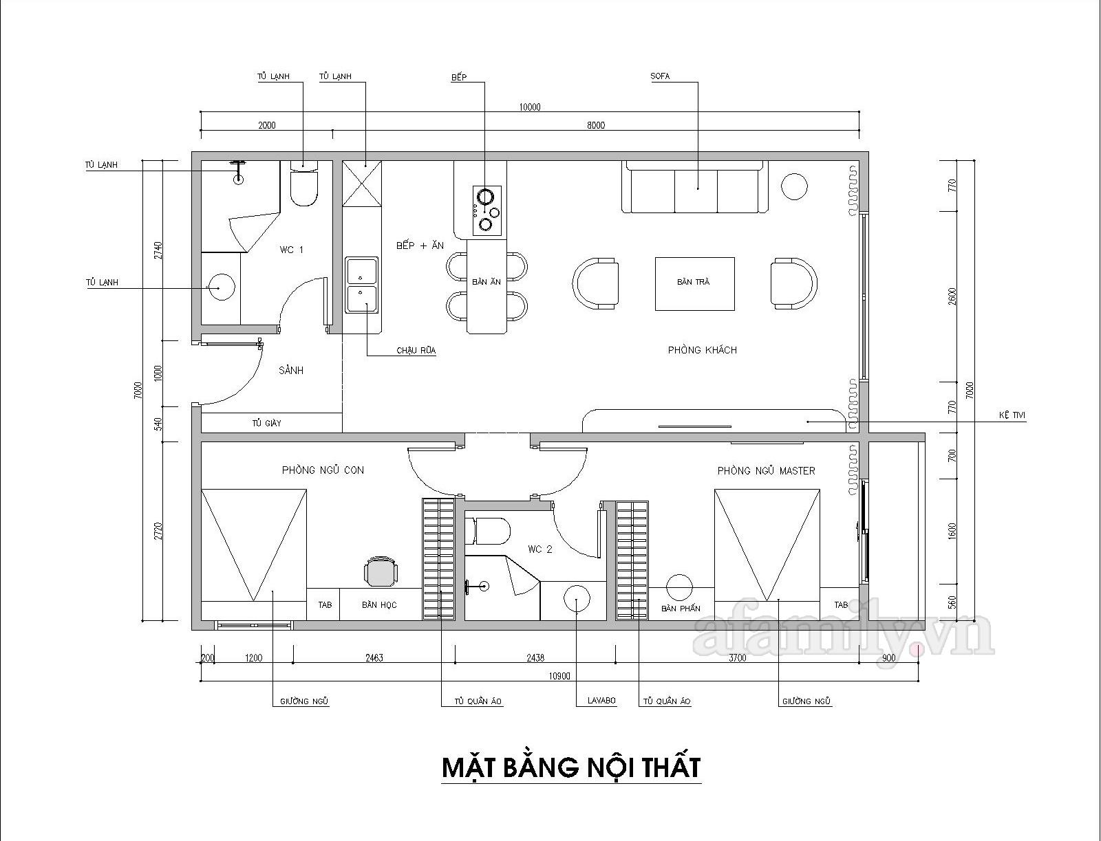Kiến trúc sư tư vấn thiết kế căn hộ chung cư 70m² hai phòng ngủ dành cho 3 người với chi phí chỉ 151 triệu đồng