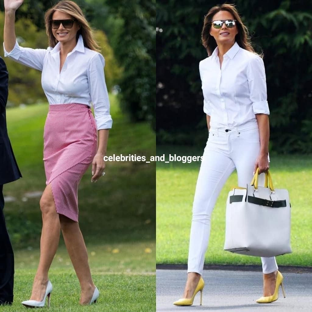Lên đồ với sơ mi trắng như bà Melania Trump: Vừa đẹp vừa sang còn tôn dáng quá trời - Ảnh 1.