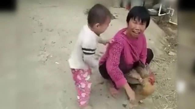 Cậu bé 3 tuổi khóc lóc, nằng nặc không cho bà mổ gà. Cư dân mạng khen ngợi sự nhân hậu của bé. - Ảnh 1.