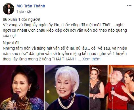 Trấn Thành, Quang Dũng cùng loạt sao Việt bàng hoàng khi hay tin danh ca Thái Thanh qua đời - Ảnh 3.