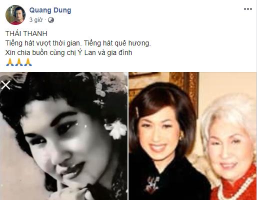 Trấn Thành, Quang Dũng cùng loạt sao Việt bàng hoàng khi hay tin danh ca Thái Thanh qua đời - Ảnh 4.