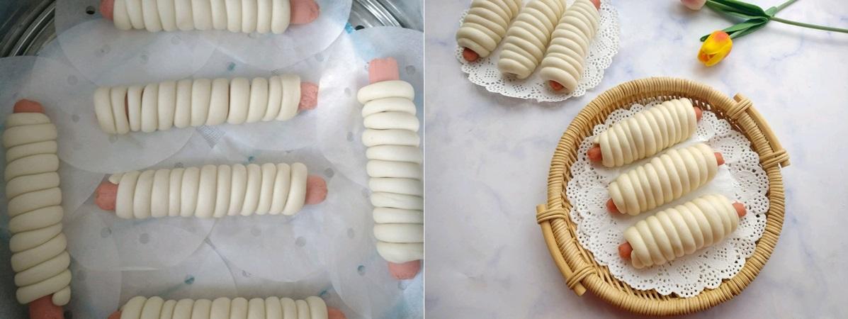 Bánh bao cuộn xúc xích ngon miệng dễ làm cho bữa sáng - Ảnh 4.