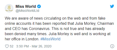 Thực hư thông tin người phụ nữ quyền lực của Miss World và đương kim Hoa hậu Thế giới nhiễm Covid-19 - Ảnh 2.