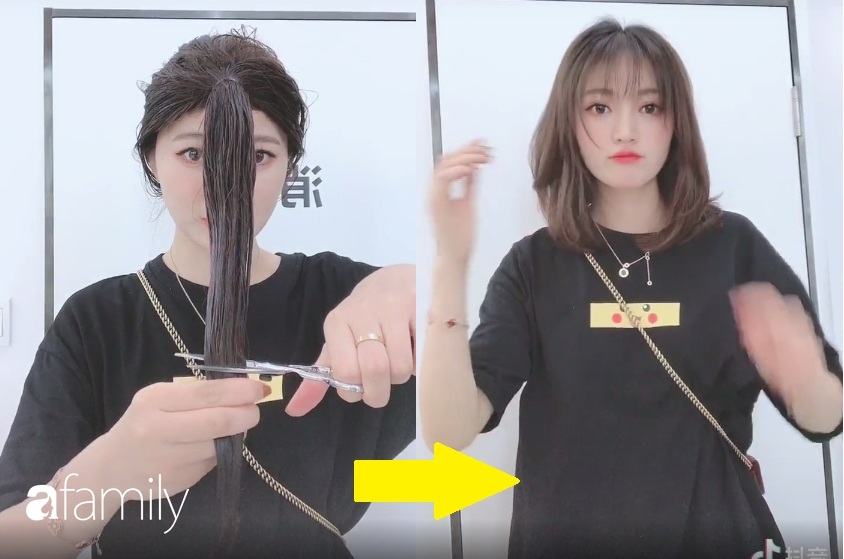 Cách tự cắt tóc tại nhà của hội con gái Trung Quốc, chẳng cần ra tiệm mà vẫn xịn sò ra trò - Ảnh 4.