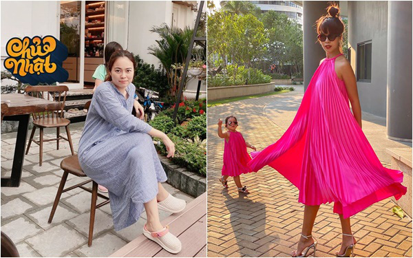 Cuối tuần mùa dịch của các hot mom: Hằng Túi bơ phờ ôm bụng bầu trông đàn con, Hà Anh diện váy hồng rực rỡ cùng Myla ra ngoài đón nắng