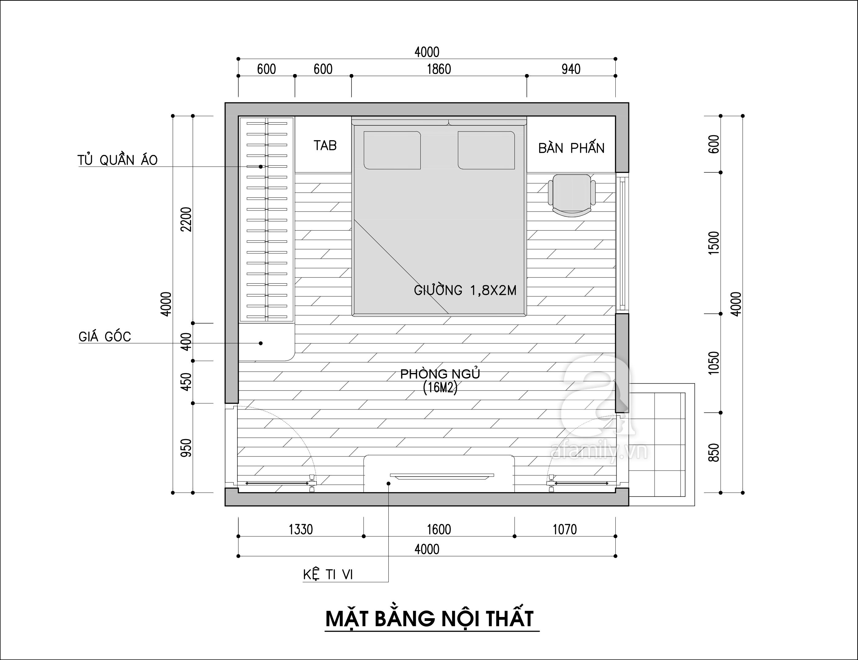 Tư vấn thiết kế nội thất phòng ngủ 16m2 đẹp hút hồn với chi phí gần 32 triệu  - Ảnh 2.