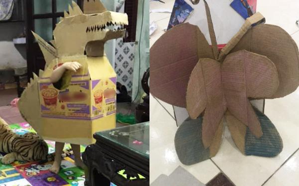 Tranh thủ nghỉ dịch, mẹ Hà Nội làm cho con chú khủng long bằng bìa các tông chơi cực vui mà chẳng tốn đồng nào