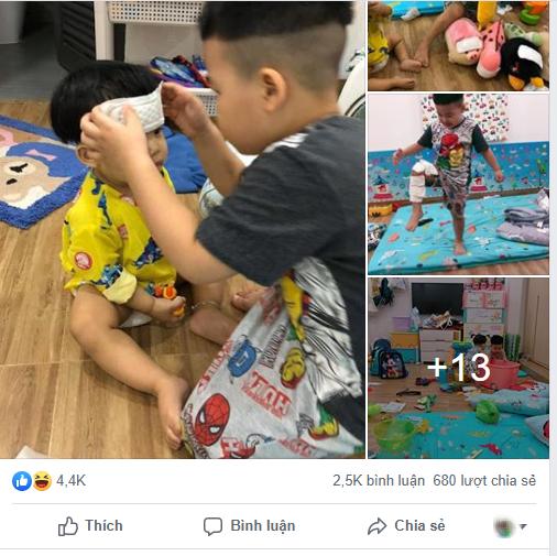 Thay mẹ trông em, bé trai 4 tuổi vào vai siêu nhân chữa vết thương cho em trai và thú cưng bằng băng vệ sinh hàng ngày của mẹ - Ảnh 1.