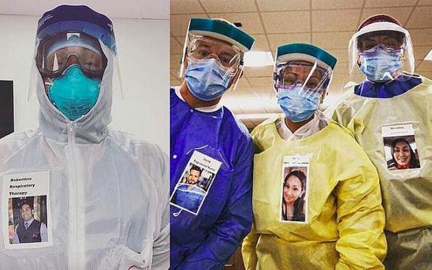 """Các nhân viên y tế đồng loạt dán """"bức ảnh đẹp nhất"""" của mình lên đồ bảo hộ để động viên bệnh nhân Covid-19"""