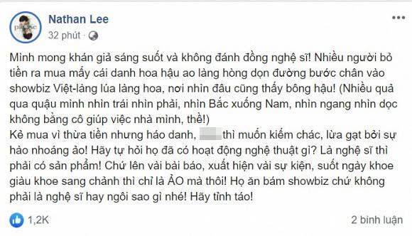 """Showbiz Việt lại có thêm màn khẩu chiến: Hoa hậu Thu Hoài ngầm đáp trả khi Nathan Lee có phát ngôn """"đá xéo"""" vụ Hoa hậu Hải Dương quỵt nợ - Ảnh 1."""