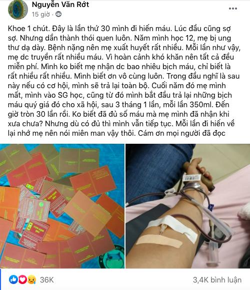 Người mẹ quá cố mắc bệnh ung thư được truyền máu miễn phí, chàng trai 30 lần hiến máu để trả nợ ân tình thay mẹ - Ảnh 1.