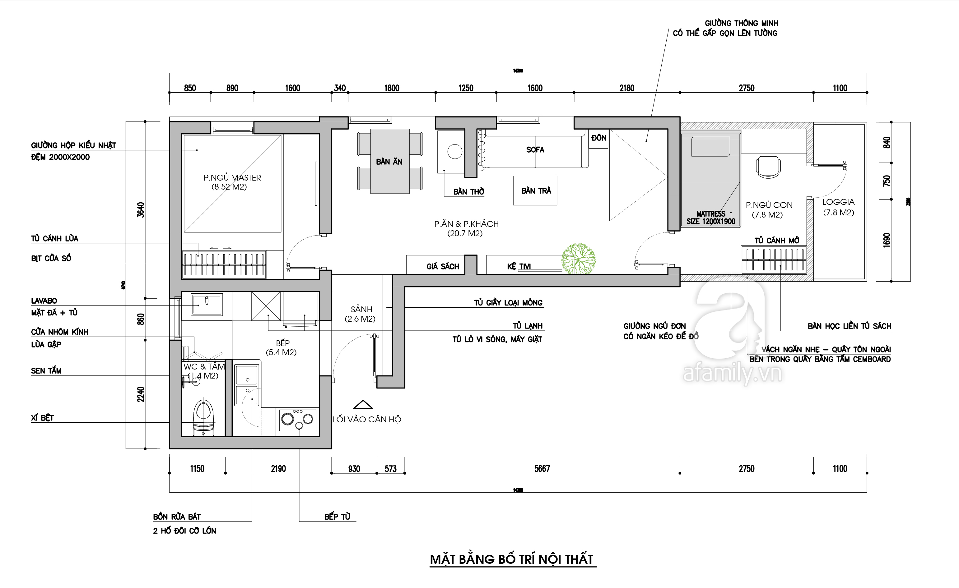 Tư vấn thiết kế cải tạo căn hộ tập thể 50m² với tổng chi phí 180 triệu đồng - Ảnh 3.