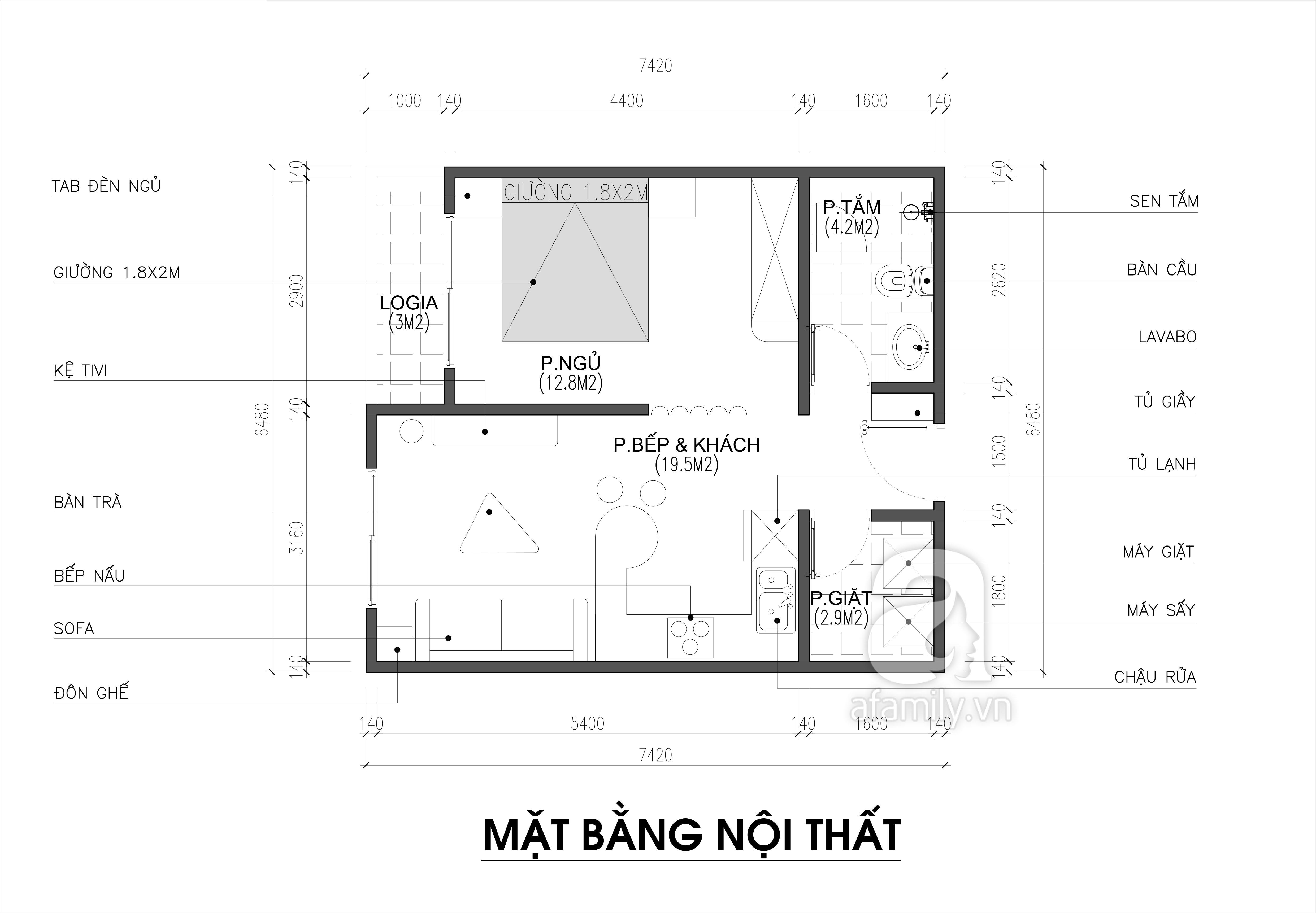 Tư vấn thiết kế nội thất căn hộ chung cư theo dạng studio có diện tích 44m² để cho thuê với chi phí 42 triệu - Ảnh 2.
