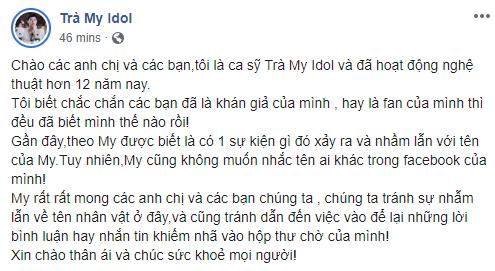 """Trà My Idol chính thức lên tiếng phản bác khi bị chỉ trích oan trong vụ diễn viên """"Thương nhớ ở ai"""" mỉa mai loạt sao Việt xót thương cho Mai Phương - Ảnh 1."""