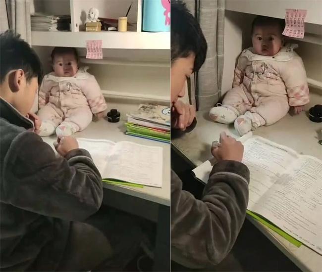 Không làm được bài tập cô giao về nhà, anh trai làm việc này với em gái khiến ai nhìn thấy cũng không nhịn được cười - Ảnh 2.