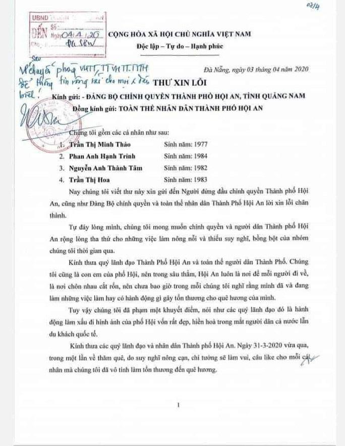 Nhóm giả danh cái bang ăn xin là người nhà Vũ nhôm, viết thư xin lỗi Hội An - Ảnh 1.