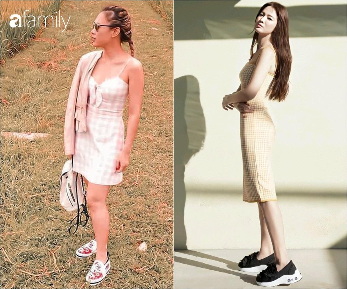 Cùng một kiểu váy hack tuổi: Song Hye Kyo thì được khen, Mỹ Tâm lại bị chê hơi sến - Ảnh 1.
