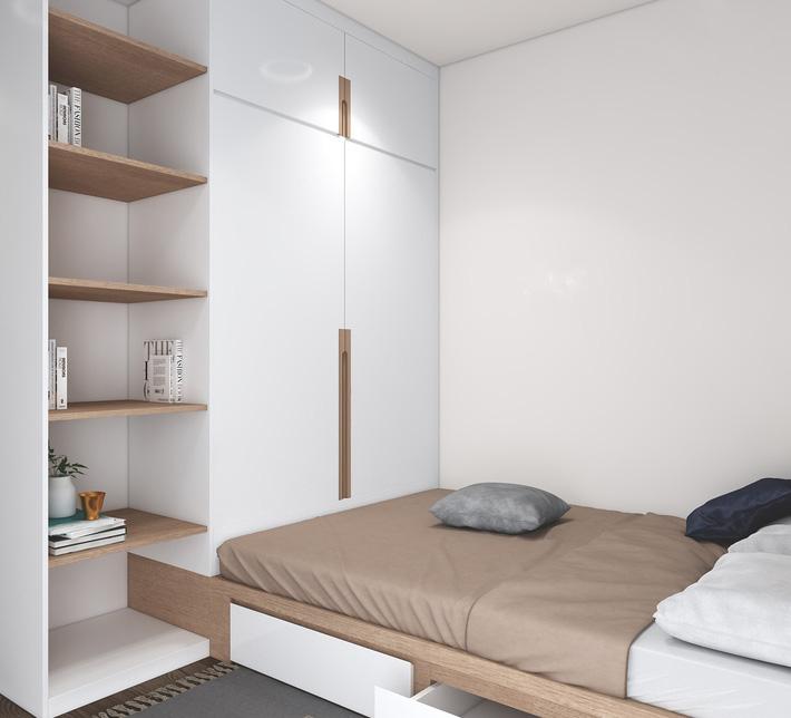 Kiến trúc sư tư vấn thiết kế cho phòng ngủ căn hộ 54m² với chi phí 15 triệu - Ảnh 10.