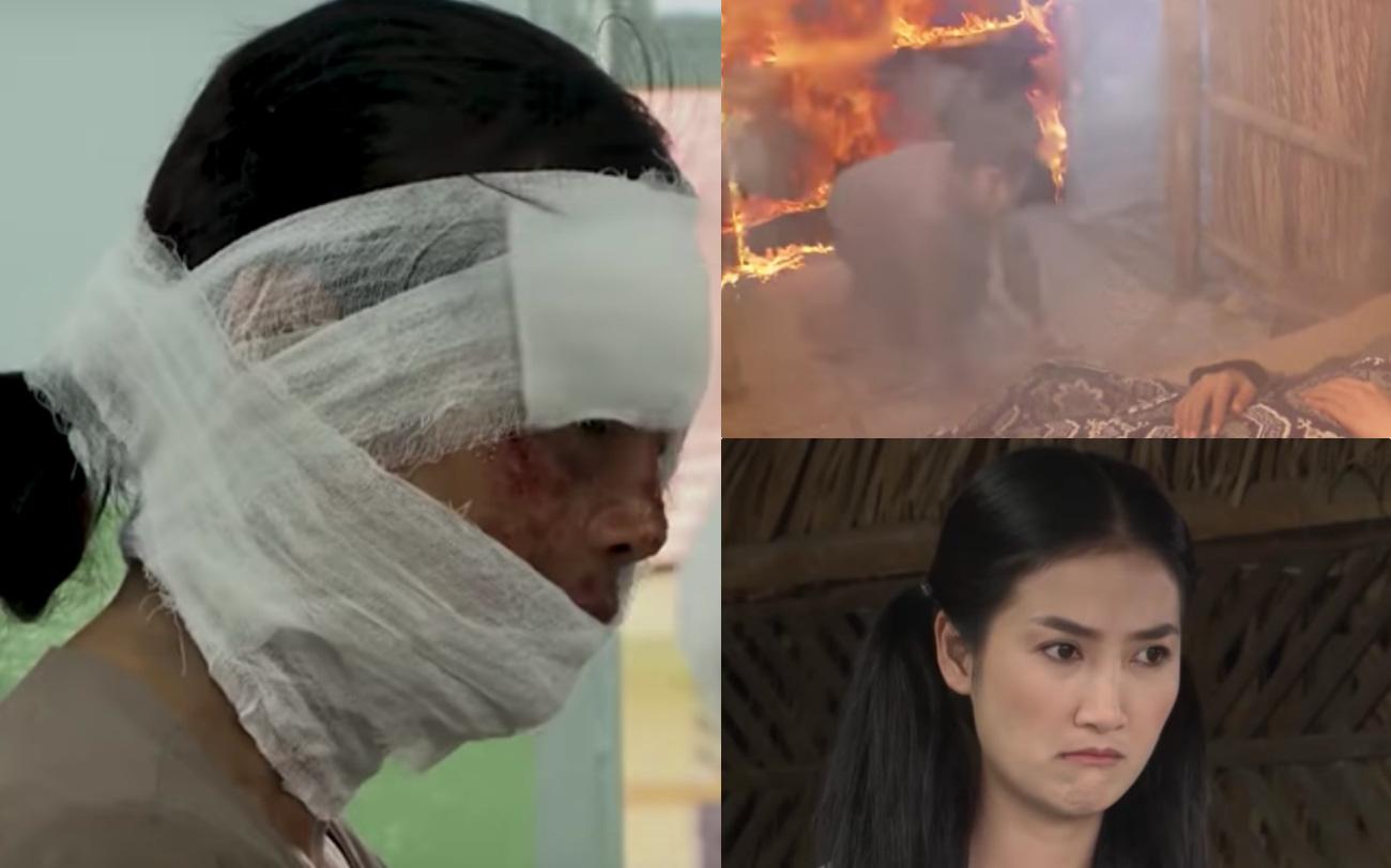 """""""Luật trời"""" hé lộ tập 11: Nhà cháy dữ dội, mẹ nuôi Bích (Quỳnh Lam) vì cứu con mà bị hỏng cả gương mặt?"""