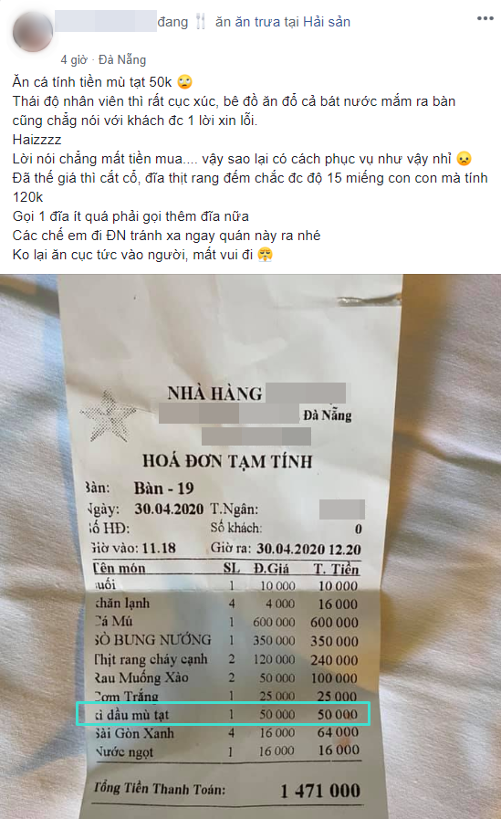 Ăn trưa tại nhà hàng hải sản ở Đà Nẵng, khách giật mình nhìn hóa đơn gần triệu rưỡi bị tính phí 50 nghìn tiền xì dầu, mù tạt (?!?) - Ảnh 1.
