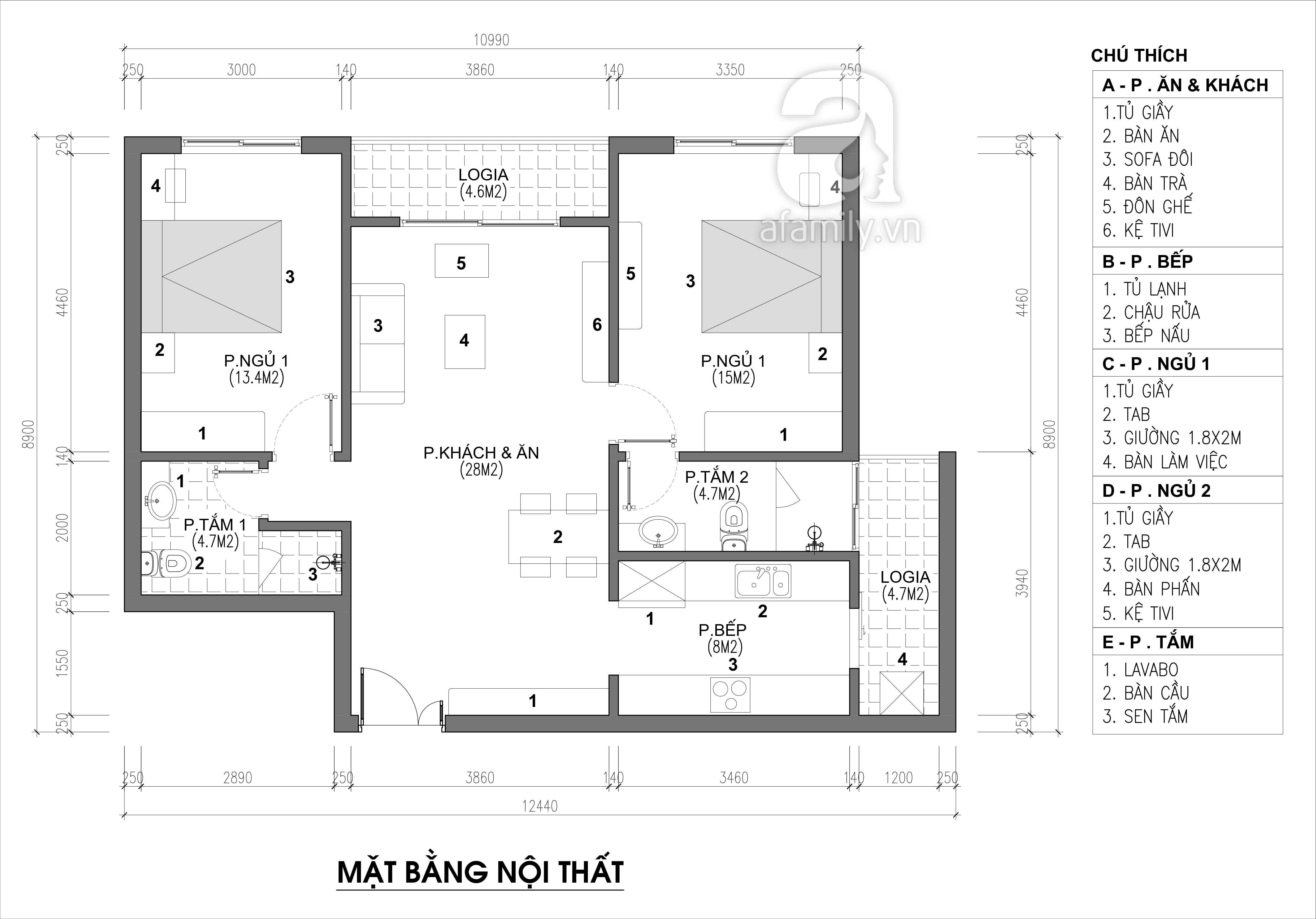 Tư vấn thiết kế nội thất căn hộ chung cư với diện tích (83m²) - Ảnh 2.