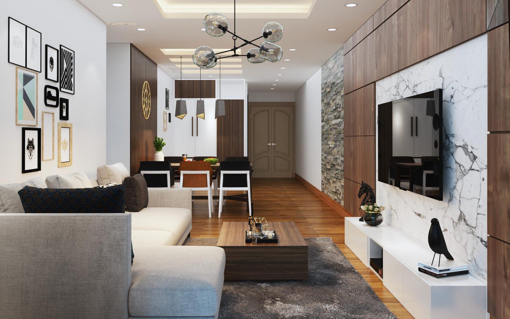 Tư vấn thiết kế nội thất căn hộ chung cư có diện tích 83m² theo phong cách hiện đại