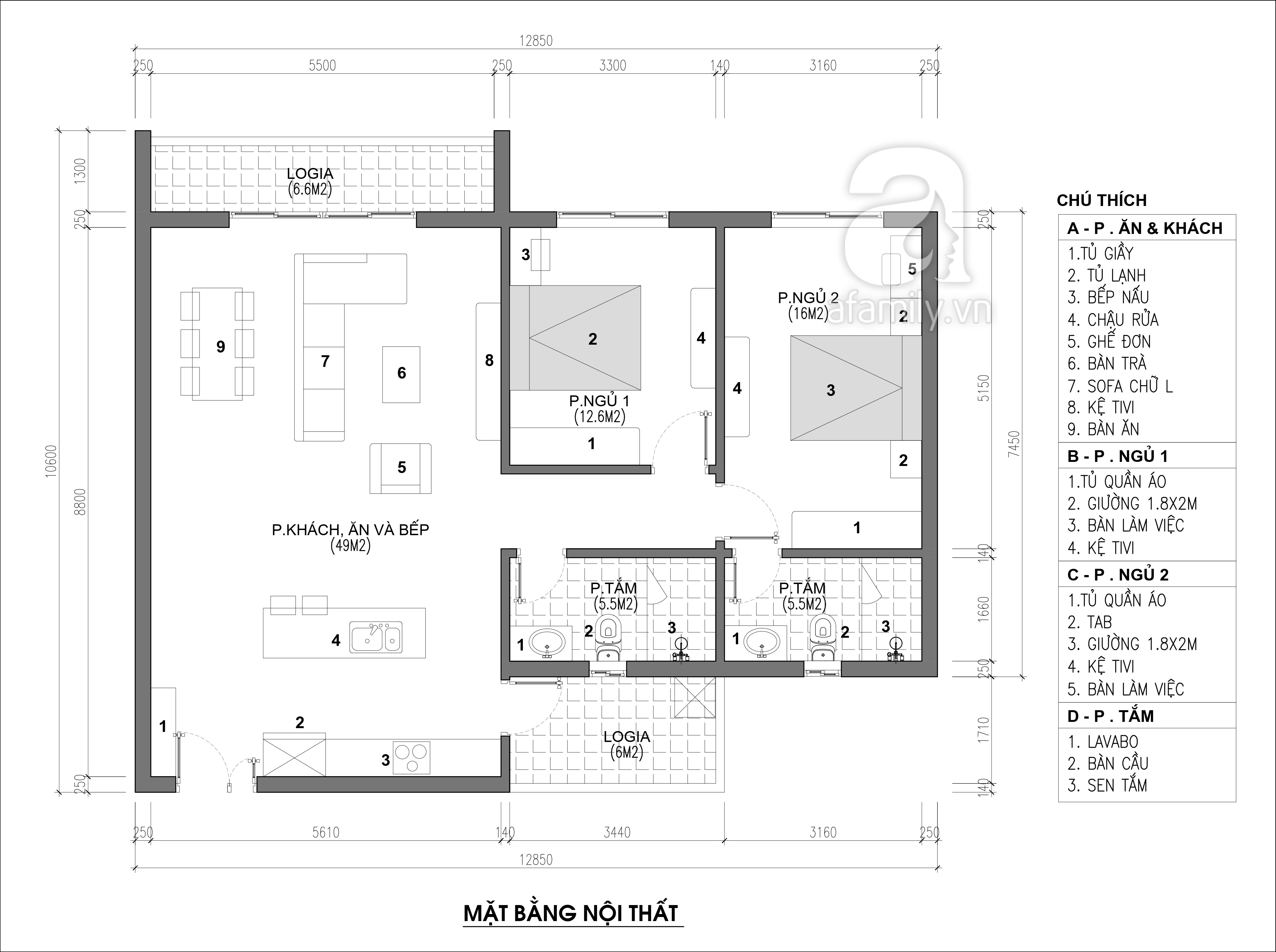 Tư vấn thiết kế nội thất căn hộ chung cư 100m² ở Bình Dương theo phong cách hiện đại, tối giản với chi phí 78 triệu - Ảnh 2.