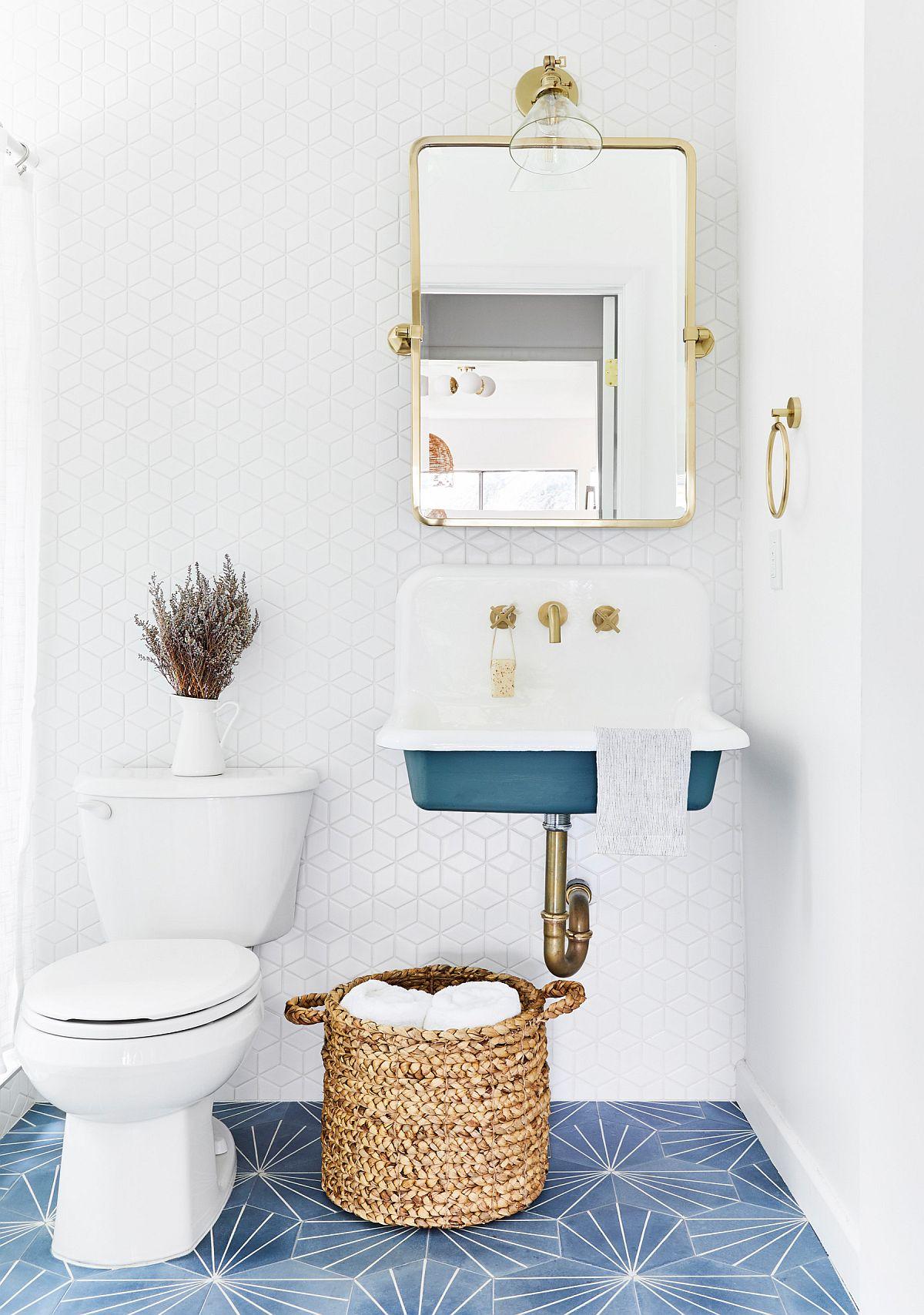 """Decor phòng tắm mùa hè """"mát lịm"""" với tông màu trắng - xanh - Ảnh 8."""