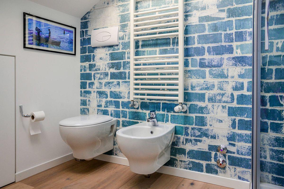 """Decor phòng tắm mùa hè """"mát lịm"""" với tông màu trắng - xanh - Ảnh 2."""