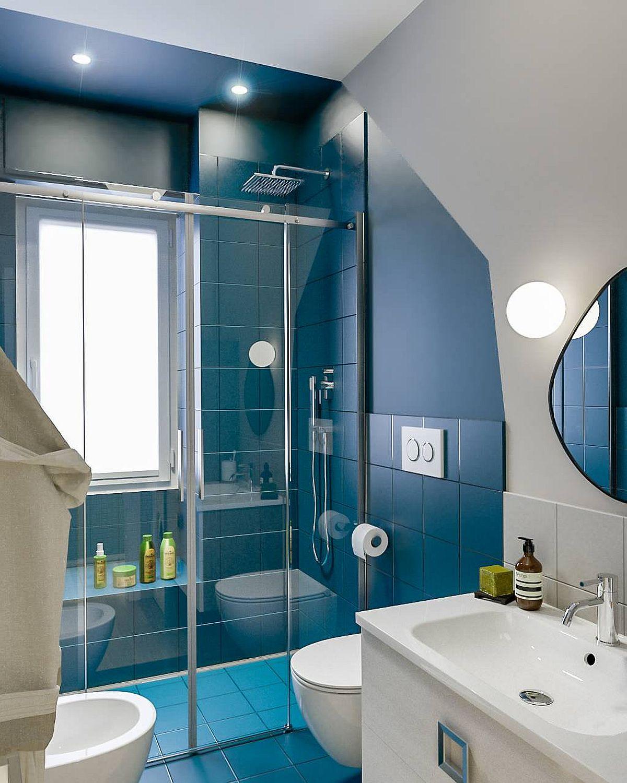"""Decor phòng tắm mùa hè """"mát lịm"""" với tông màu trắng - xanh - Ảnh 3."""