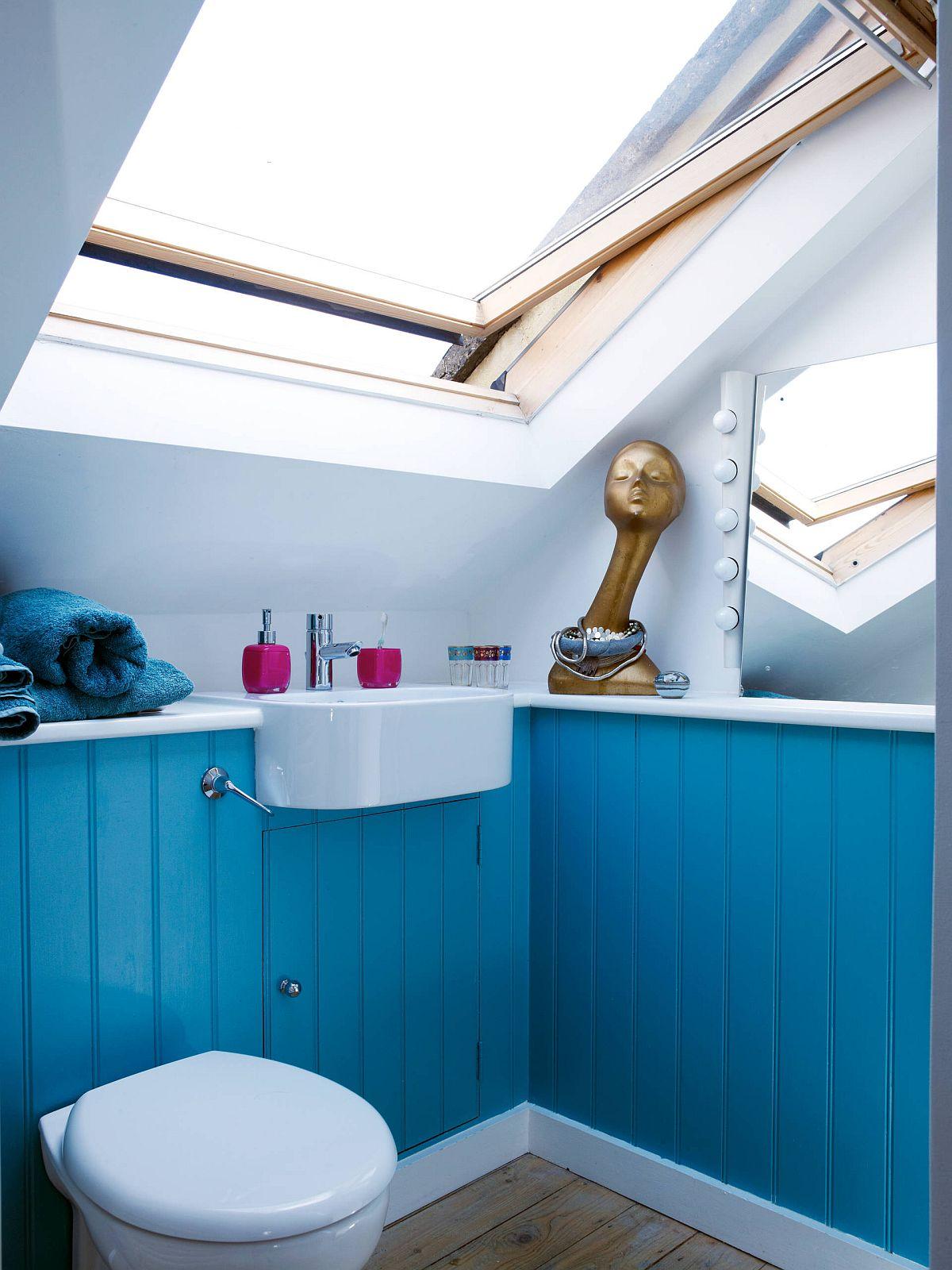 """Decor phòng tắm mùa hè """"mát lịm"""" với tông màu trắng - xanh - Ảnh 5."""