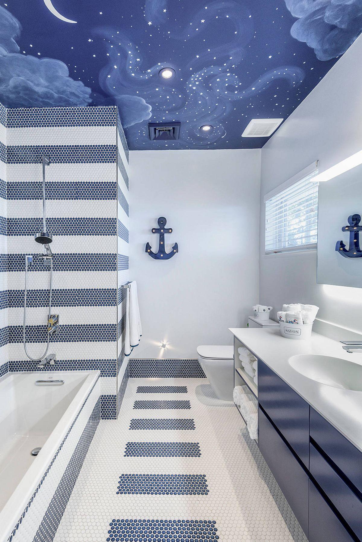 """Decor phòng tắm mùa hè """"mát lịm"""" với tông màu trắng - xanh - Ảnh 6."""