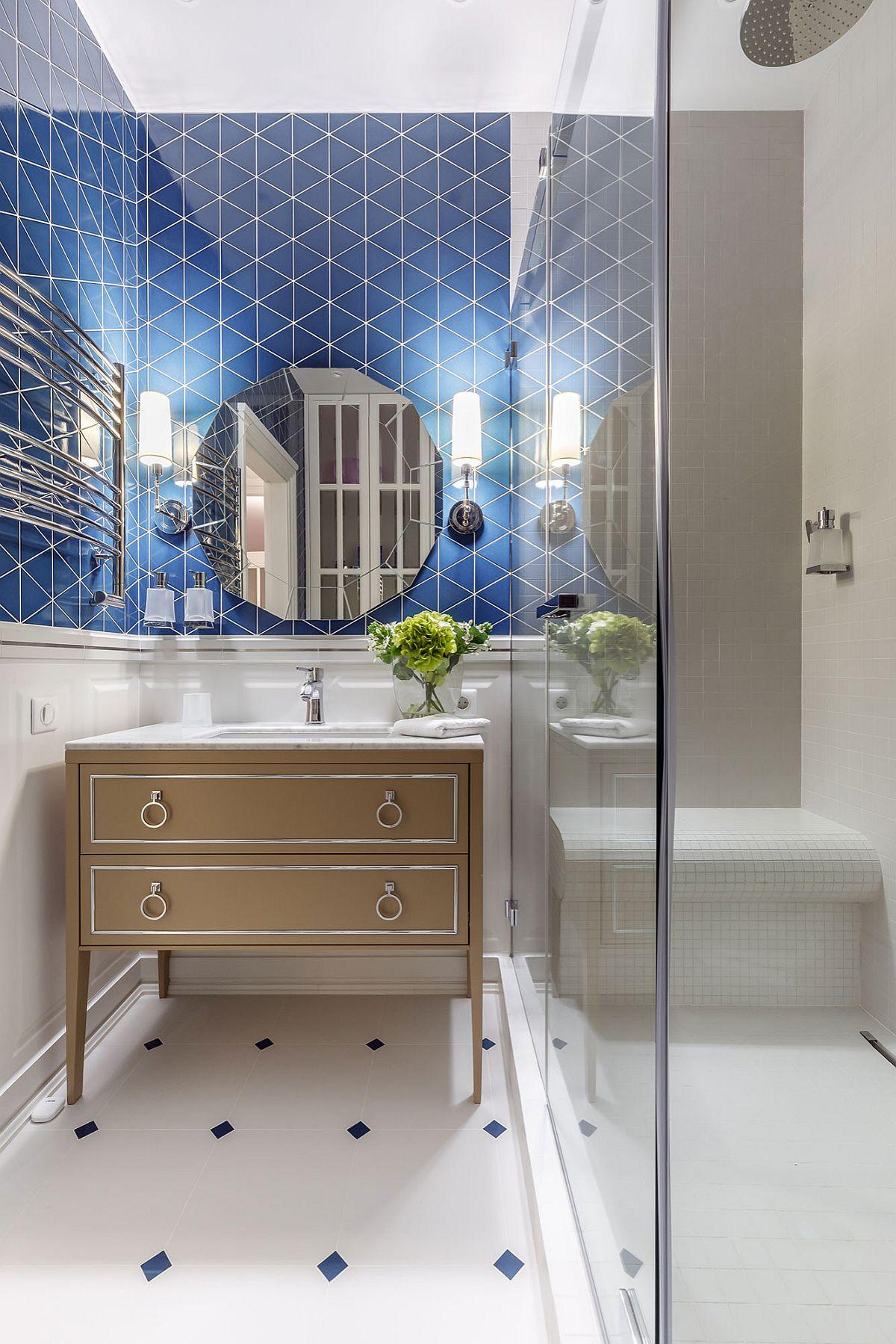 """Decor phòng tắm mùa hè """"mát lịm"""" với tông màu trắng - xanh - Ảnh 7."""