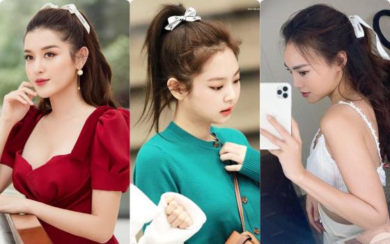 """Chỉ một sợi dây Chanel, Jennie (Black Pink) tận dụng làm buộc tóc cực sang chảnh: Lan Ngọc, Huyền My thi nhau học theo nhưng """"hài"""" nhất lại là Hari Won"""