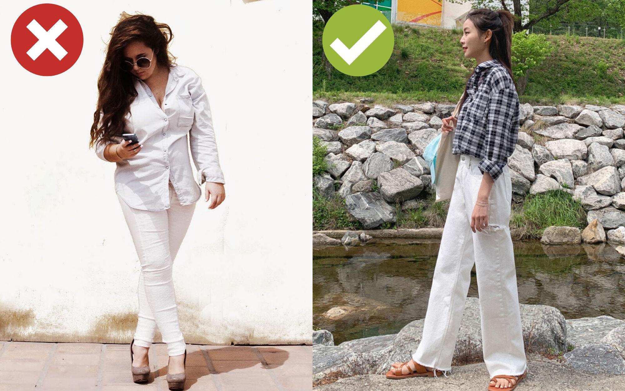 Chọn dáng quần: Không phải cứ jeans trắng là giúp nâng tầm style