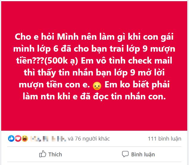 Vô tình kiểm tra facebook, mẹ trẻ không giữ nổi bình tĩnh khi đọc đoạn chat giữa con gái lớp 6 và bạn trai lớp 9 - Ảnh 1.