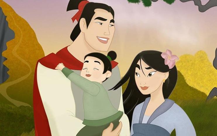 Bộ tranh ''Khi 18 cặp đôi nổi tiếng của Disney có con''...