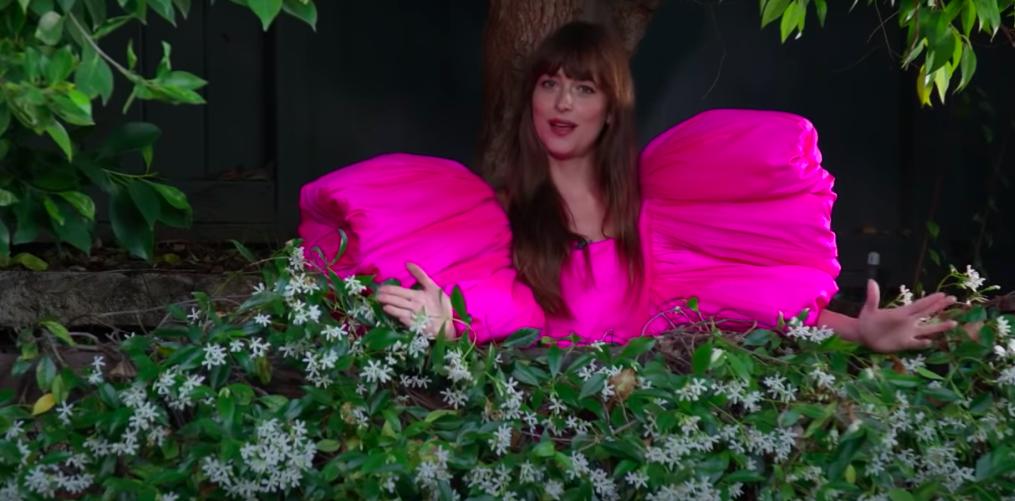 """Không thả dáng trên thảm đỏ cũng chẳng chụp photoshoot, mỹ nhân """"50 sắc thái"""" diện siêu phẩm đầm hồng của NTK Công Trí để... tưới cây - Ảnh 3."""